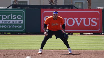 Slugger Pedro Álvarez takes grounders at first base before the Orioles' Grapefruit League game against the Detroit Tigers on Monday afternoon.