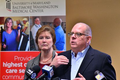 Gov. Larry Hogan speaks with the press after touring the Combined Heat and Power system at the University of Maryland Baltimore-Washington Medical Center in Glen Burnie.