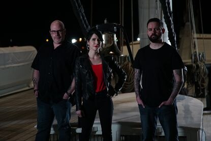 "Investigator Dave Schrader, psychic medium Cindy Kaza and equipment technician Shane Pittman of ""The Holzer Files"" aboard the U.S.S. Constellation."