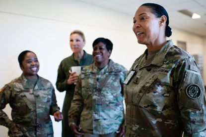 Maryland is the first state whose National Guard is led by a command staff composed of entirely women, including: Maj. Gen. Linda L. Singh, right; Brig. Gen. Janeen Birckhead, left; Brig. Gen. April Vogel, second from left; and Command Sgt. Maj. Perlisa Wilson.
