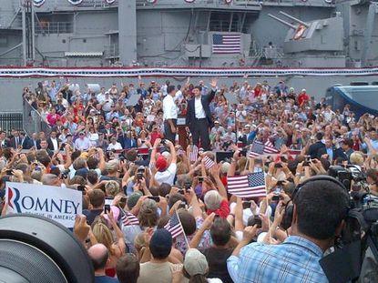Mitt Romney and Paul Ryan at Saturday's announcement in Norfolk.