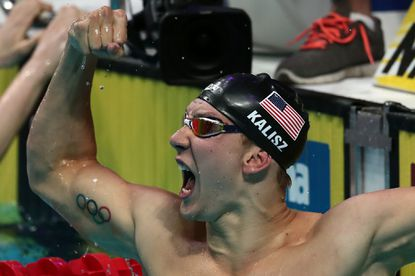 Bel Air's Chase Kalisz celebrates after winning the final of the men's 400m individual medley at the 2017 FINA World Championships in Budapest today.