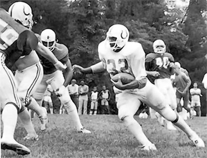 Jarrettsville's Randy McMillan played five years with the NFL Baltimore and Indianapolis Colts, until his career was cut short by an injury sustained when he was hit by a car. Before the pros, McMillan was a star running back at Harford Community College, when the school still had a nationally recognized football program, and then at the University of Pittsburgh, where he scored three TDs in an upset of Penn State his senior year.