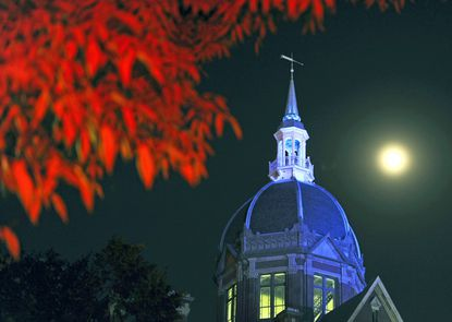 The signature dome of Johns Hopkins Hospital lit in blue in honor of prostate cancer awareness week.