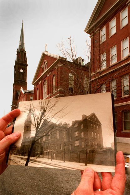 The Institute of Notre Dame, 901 Aisquith Street in Baltimore, juxtaposed with a photograph taken in the early 1900s. The institute celebrated its 150th anniversary in 1997.
