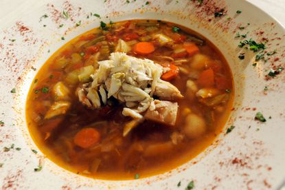 A bowl of Maryland crab soup prepared by Kelly Belk of Baltimore and Pauline Guiragoss, owner of Gitan Bistro Cru in Canton