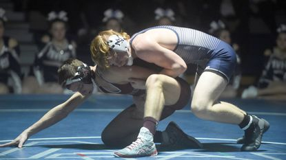 Manchester Valley's Chad Shaffer controls Winters Mill's Colby Unkart who struggles for an escape in the 138 weight class during a wrestling match at Manchester Valley High School on Tuesday, Jan. 8.