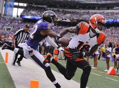 Bengals wide receiver A.J. Green scores on a pass play in the fourth quarter as Ravens cornerback Jimmy Smith was late on the coverage.