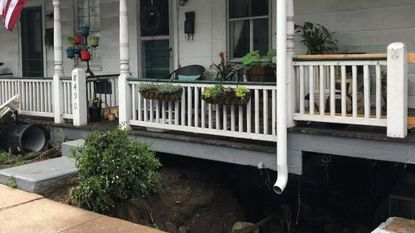 The Ellicott City flooding opened a cavernous crater under the foundation of a block of row houses in the 8400 block of Main Street, displacing 15 residents. The county is putting up 59 people in hotel rooms, and others are staying with friends or family members.