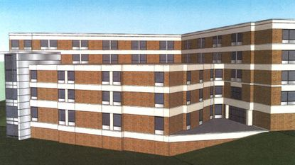 Carroll Hospital planning and zoning proposal illustration, exterior elevation view.