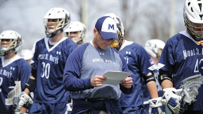 """The recent offensive surge enjoyed by the Mount St. Mary's men's lacrosse team has been """"fun to watch,"""" according to coach Tom Gravante (pictured). The joy continued Friday as the Mountaineers scored 16 goals against UMBC for their first win of 2018."""