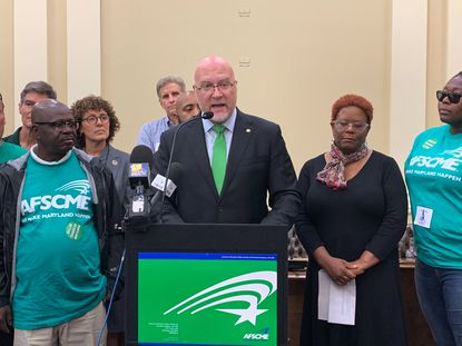 Patrick Moran, president of AFSCME Maryland Council 3, the largest union for state employees, speaks at a news conference in Annapolis on Oct. 29, 2019. The union says Maryland Gov. Larry Hogan has declined to give its members a 1% raise that other state workers are enjoying as of the start of the year.