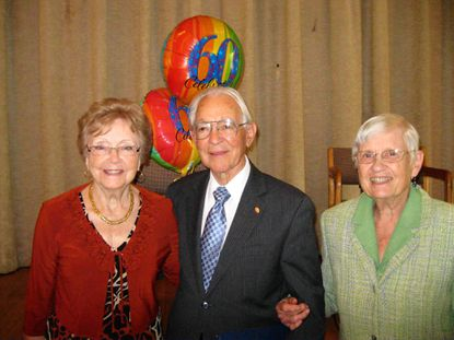 The Rev. Carroll Doggett, center, and his wife, Nan, right, returned to Loch Raven Methodist Church on Sept. 15 to celebrate the 60th anniversary of the church that they organized in the 1950s. At left is Ardith Luttrell, who was named a charter member of the church in recognition of her regular attendance over the years.
