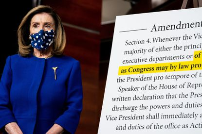 House Speaker Nancy Pelosi attends a news conference in Washington last week about proposed legislation that would create a bipartisan group of outside experts to advise Congress as to whether President Trump's powers should be forcibly removed under the 25th Amendment.
