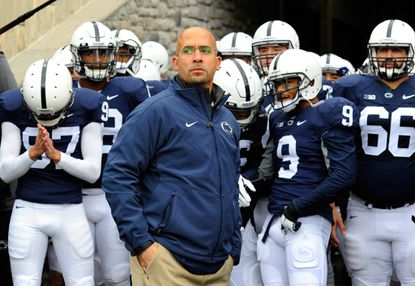 Penn State footballcoach James Franklin waits to lead his team onto the field prior to the game against the Maryland Terrapins at Beaver Stadium on Nov. 1, 2014.