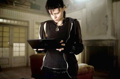 """Fleece hoodies and thermal wear lend street cred to """"Girl With a Dragon Tattoo's"""" lead character Lisbeth Salander, played by Rooney Mara."""