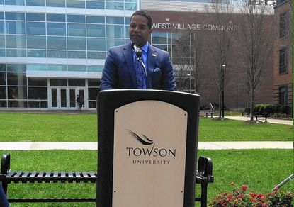 Baltimore Gas & Electric CEO Calvin Butler Jr. announced that the utility company was giving $1.7 million in energy rebates to Towson University Thursday.