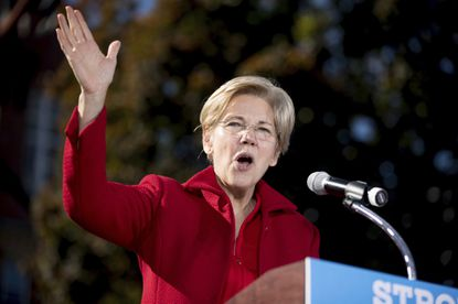 Sen. Elizabeth Warren, D-Mass. speaks at a rally for Democratic presidential candidate Hillary Clinton at St. Anselm College in Manchester, N.H., on Oct. 24, 2016.