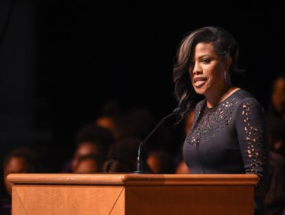 Former Baltimore City Mayor Stephanie Rawlings-Blake gives remarks during a ceremony celebrating the life of Elijah Cummings. A public viewing and community celebration for Congressman Elijah E. Cummings was held at Morgan State University on Wednesday. 10-23-2019 (Ulysses Muñoz, Baltimore Sun)