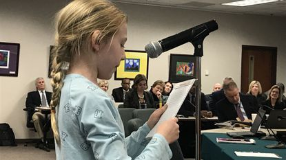 Youth's Benefit Elementary School fourth-grader Emma Sewell urges members of the Harford County Board of Education not to cut the 153 instructional positions proposed in the FY2020 budget.