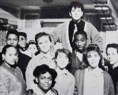 Tupac Shakur, third from right, in the 1988 Baltimore School for the Arts yearbook.