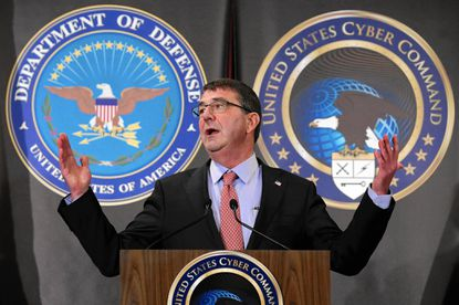 Defense Secretary Ashton B. Carter, shown here at Fort Meade last year, described the outlines of a hacking campaign against the self-declared Islamic State Monday.