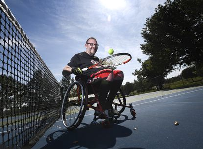 Wheelchair tennis player Brad Evans, who works at the Maryland State Police barrack in Westminster, will participate in the Adaptive Sports Festival in Baltimore on Sept. 28.