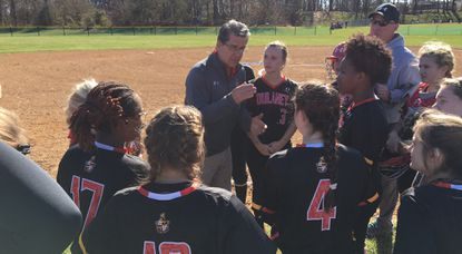 Dulaney's softball team, seen huddling during a game earlier this season, fell a run short against Sherwood in the 4A North region championship game on May 19.