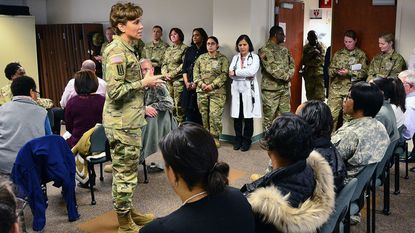 Lt. Gen. Nadja West, the 44th Army surgeon general talks with staff members during a town hall meeting in 2017 at Kimbrough Ambulatory Care Center. Kimbrough helps military families care for loved ones dealing with chronic disease.