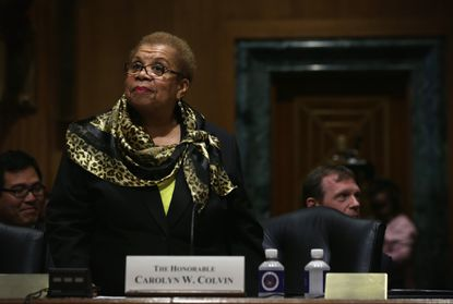 Acting Commissioner of Social Security Administration Carolyn Colvin stands up during her confirmation hearing before the Senate Finance Committee. She will become the next commissioner of the Social Security Administration if confirmed.