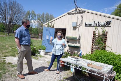 Tom O'Connell, left, director of the Eastern Ecological Science Center, talks with Clare Maffei, biologist with the US Fish and Wildlife, about various projects going on at the bee lab on Friday, May 14, 2021.