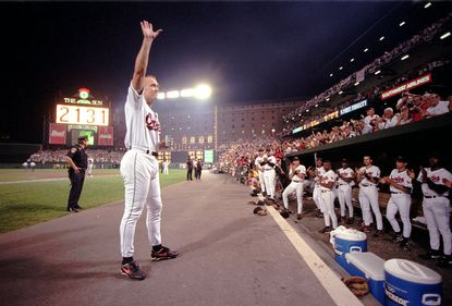 In 1995 Cal Ripken Jr. acknowledges the crowd after officially breaking Lou Gehrig's record. Ripken and his legendary streak have been mentioned in many hip-hop works over the years.