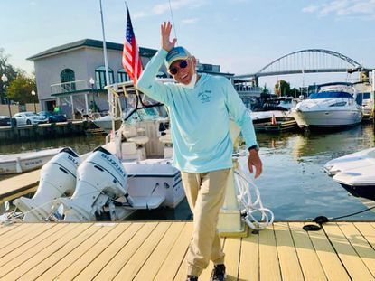 """""""Margaritaville"""" singer Jimmy Buffett visited the Chesapeake Inn Restaurant and Marina Sunday. His fishing boat, The Last Mango, was docked at the marina in Cecil County."""