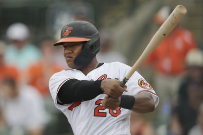 Orioles catcher Pedro Severino bats against the Braves during a spring training game Wednesday, Feb. 26, 2020, in Sarasota, Fla.