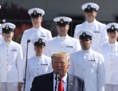President Donald Trump speaks during a 9/11 memorial ceremony at the Pentagon to commemorate the anniversary of the 9/11 terror attacks.