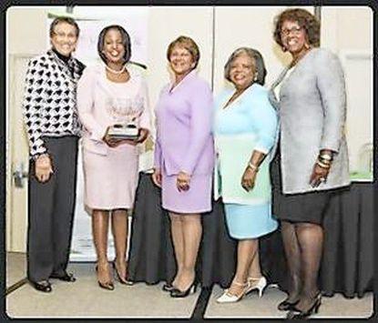 From left areo right: Lenora Booth, president Alpha Kappa Alpha Sorority Iota Lambda Omega Chapter; Rosalyn Brock, chairwoman of the National Board of Directors, NAACP; Edith Booker, AKA Sorority 29th North Atlantic Regional Director; Erma Barron,AKA Sorority27th North Atlantic Regional Director; and Ava Baker, president, Pearl Foundation.