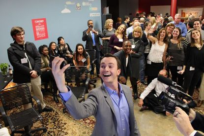 "Hungry Harvest CEO Evan Lutz shoots a selfie Friday night at his ""Shark Tank"" viewing party."