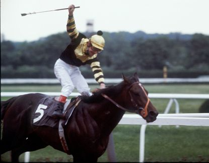 1977 -- SEATTLE SLEW | Jockey: Jean Cruget. Kentucky Derby time: 2:02.2. Runner-up: Run Dusty Run. Preakness time: 1:54.40. Runner-up: Iron Constitution. Belmont Stakes time: 2:29.6. Runner-up: Run Dusty Run. Died: May 7, 2002