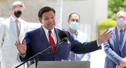 Florida Gov. Ron DeSantis gives an update on the state's response to the coronavirus pandemic during a news conference at Florida's Turnpike Turkey Lake Service Plaza, in Orlando on July 10, 2020.
