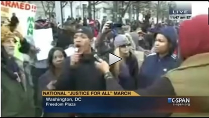A screen grab of the original C-SPAN video; the chant of protesters was misleadingly edited by WBFF.