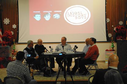 Kevin Leonard, center, moderates a discussion last month by former Laurel mayors (from left) Robert DiPietro, Joe Robison and Mike Leszcz; and current Mayor Craig Moe.