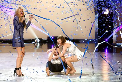 Host Cat Deeley (left) announces the winning contestant from season 11.