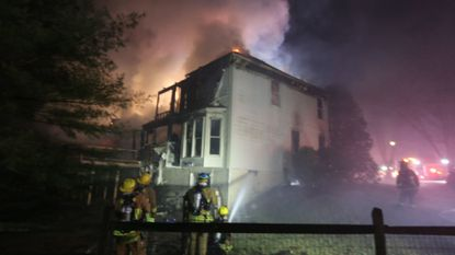 About 75 firefighters responded to a morning fire on Kingsbridge Road in Ellicott City.