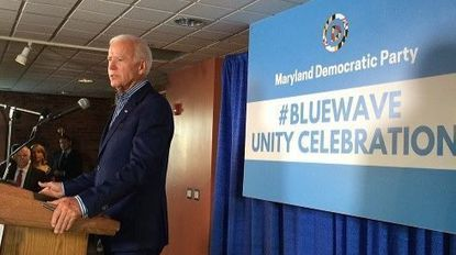 Former Vice President Joe Biden delivered the keynote address at a fundraiser for Ben Jealous' campaign against Republican Gov. Larry Hogan. Maryland Democratic Party officials said the event attracted 250 people and raised $150,000 Saturday night at Camden Yards in Baltimore.