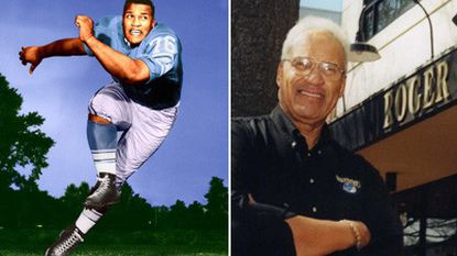 Former NFL defensive lineman Roger Brown is seen on the left as a member of the Detroit Lions. On the right, is a recent photo of Brown outside of one of his restaurants.