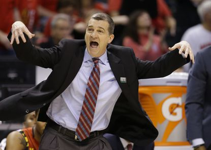 Maryland coach Mark Turgeon questions a call in the first half against Michigan State during the semifinals of the Big Ten Conference tournament in Indianapolis, Saturday, March 12, 2016.