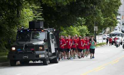 The third leg of 27th annual Law Enforcement Relay for Special Olympics concluded with runners tackling this huge final hill on Joppa Road on Thursday. The next stop for the torch is Towson University, where the final leg begins at 5:30 p.m.