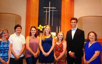 Joanne Grossnickle Scholarships were given for the 2017-2018 school year. Pictured, from left, are scholarship committee member Marcia Leiter, Joshua Mosholder, Amber Lippy, Kaitlin Byrnes, Rachel McCuller, Alexander Moore, scholarship committee member Margie Legg. Other recipients, not pictured are Grace Yingling and Emily Zimmerman. - Original Credit: Courtesy Photo