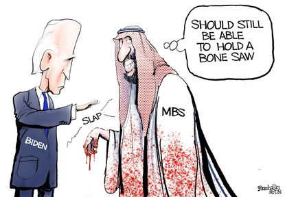 Bill Bramhall's editorial cartoon for Wednesday, March 2, 2021, following President Biden's refusal to punish Mohammed bin Salman, Crown Prince of Saudi Arabia, for the murder of Jamal Khashoggi. (Bill Bramhall/Tribune Content Agency).