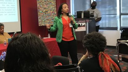 Psychologist La Keita Carter addresses attendees at a seminar on black women and trauma at Baltimore City Community College. The seminar was put on by the Black Mental Health Alliance.